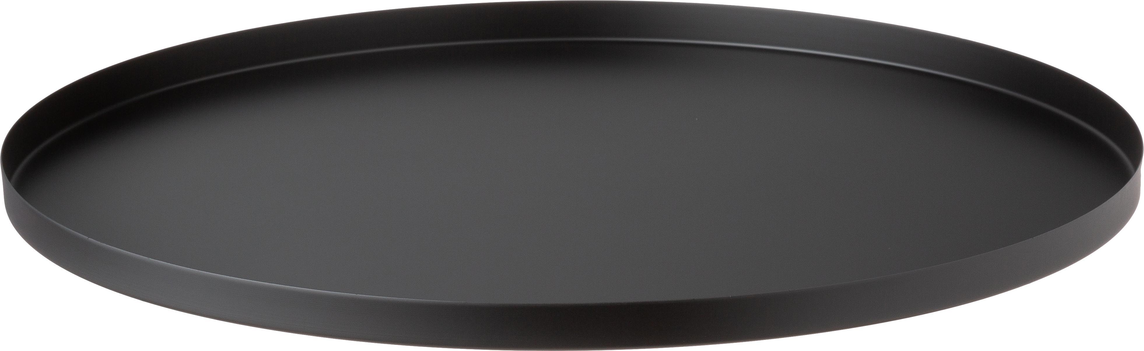 Rundes Deko-Tablett Circle in Schwarz, Edelstahl, pulverbeschichtet, Schwarz, matt, Ø 40 x H 2 cm