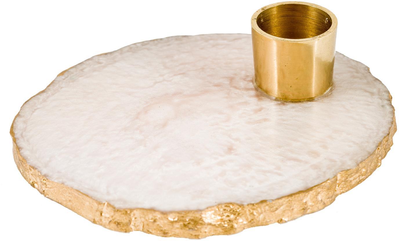 Kaarsenhouder Alfa, Kunsthars, metaal, Wit, goudkleurig, Ø 10 x H 3 cm