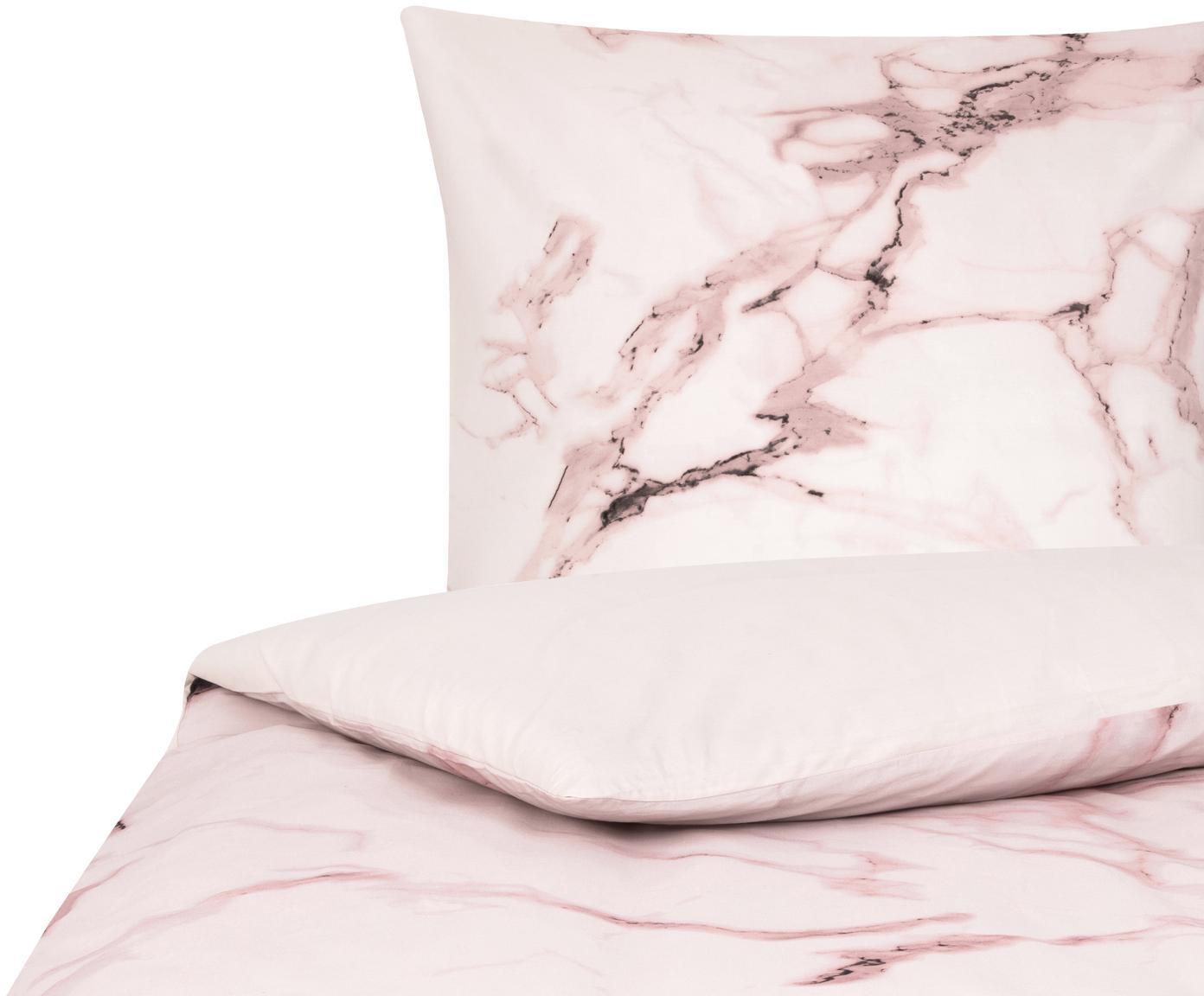 Parure copripiumino in percalle Malin, Tessuto: Renforcé Densità del filo, Fronte: modello in marmo, rosa Retro: rosa, unicolore, 155 x 200 cm