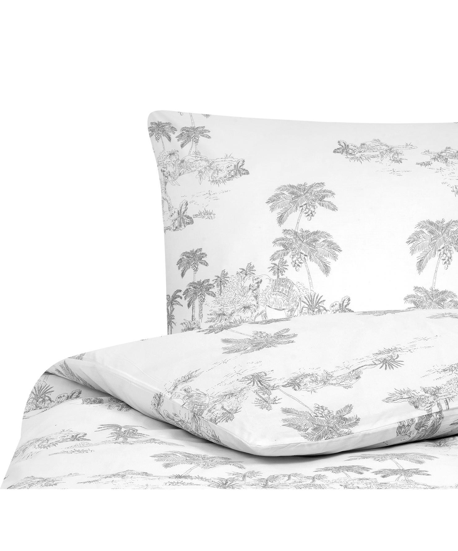 Baumwollperkal-Bettwäsche Bali mit gezeichneten Palemmotiven, Webart: Perkal Fadendichte 180 TC, Weiß, Grau, 135 x 200 cm + 1 Kissen 80 x 80 cm