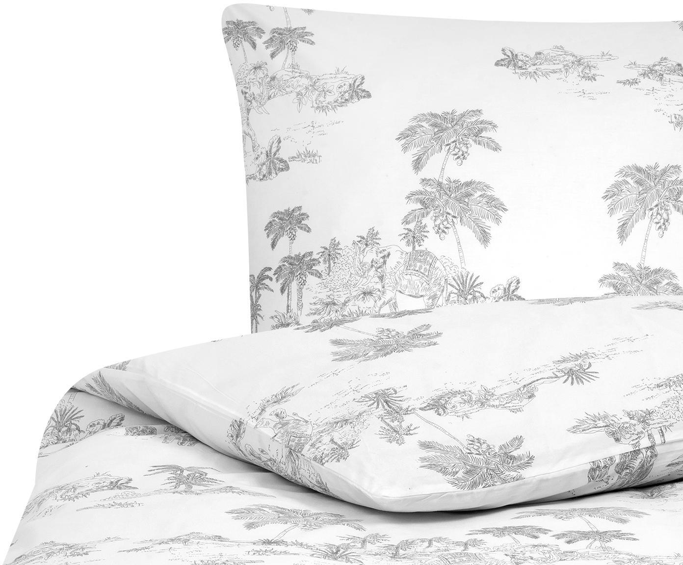 Baumwollperkal-Bettwäsche Forest mit gezeichnetem Print, Webart: Perkal Fadendichte 180 TC, Weiß, Grau, 135 x 200 cm + 1 Kissen 80 x 80 cm