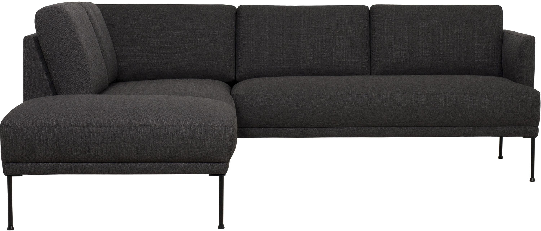 Sofa narożna Fluente, Tapicerka: 100% poliester 40000 cyk, Stelaż: lite drewno sosnowe, Nogi: metal malowany proszkowo, Ciemnyszary, S 221 x G 200 cm