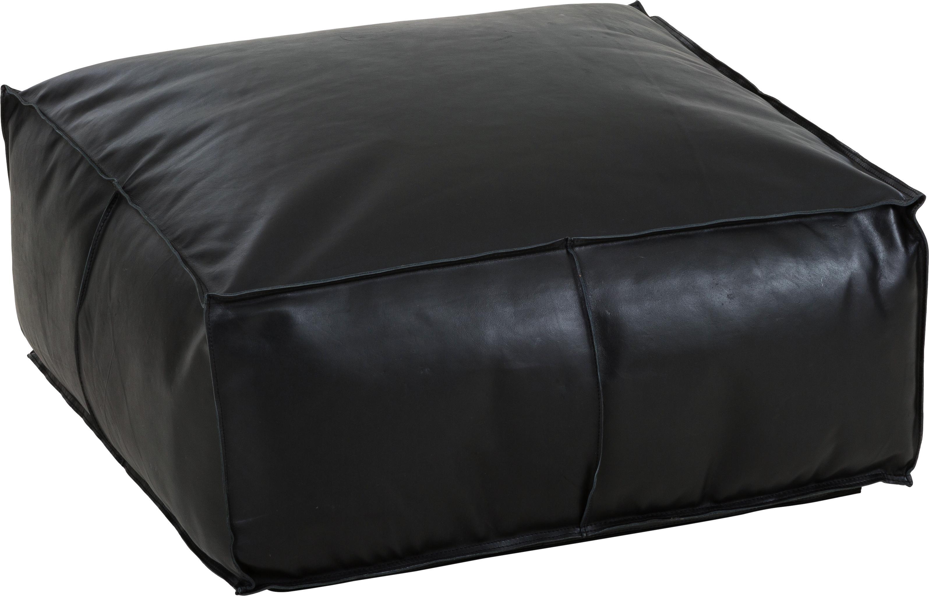 Grosser Leder-Pouf Arabica, Bezug: Leder Unterseite, Schwarz, 70 x 30 cm