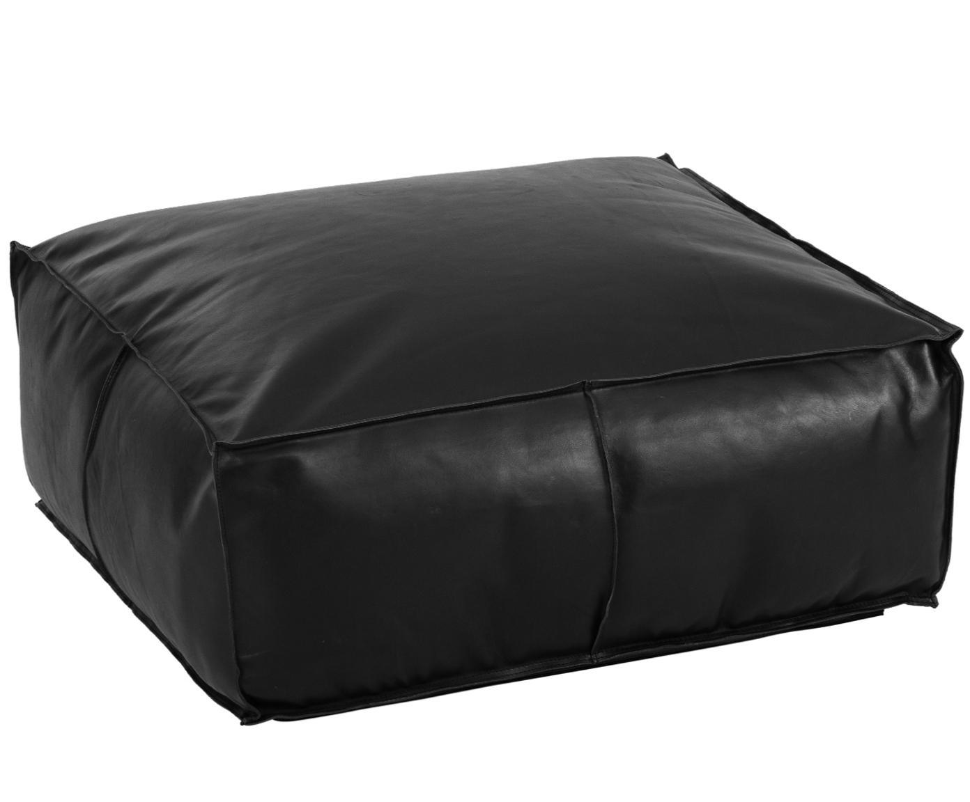 Cuscino da pavimento in pelle Arabica, Rivestimento: pelle, Nero, Larg. 70 x Alt. 30 cm