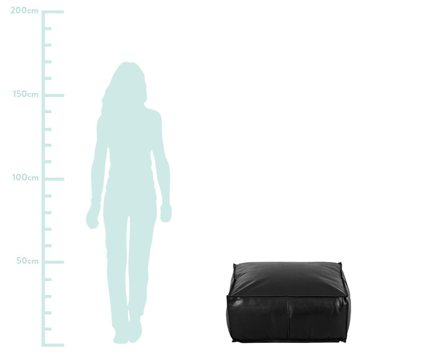 Duży puf ze skóry Arabica, Tapicerka: skóra, Czarny, S 70 x W 30 cm