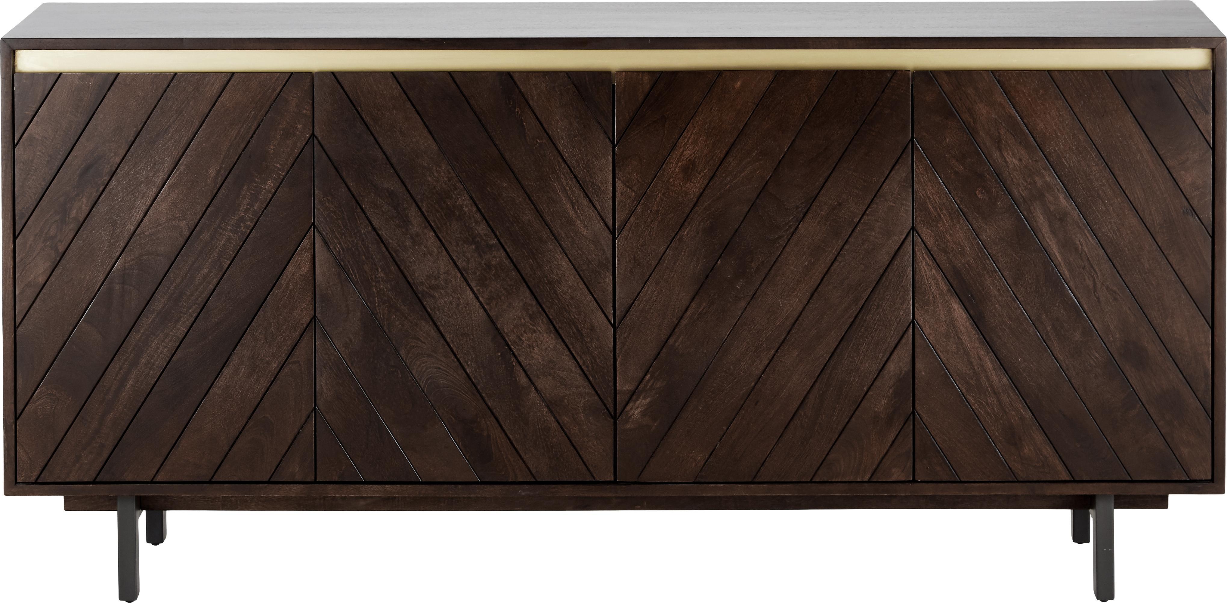 Komoda z litego drewna Karl, Korpus: lite drewno mangowe, laki, Nogi: metal malowany proszkowo, Drewno mangowe, odcienie złotego, S 165 x W 61 cm