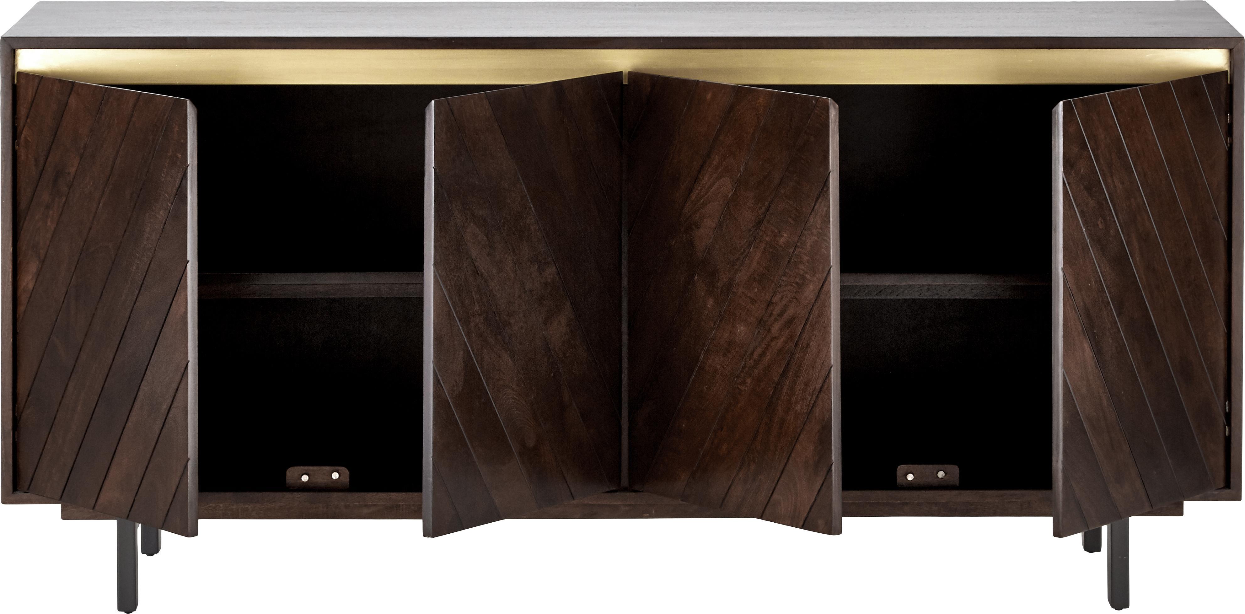 Massivholz Sideboard Karl, Korpus: Massives Mangoholz, lacki, Füße: Metall, pulverbeschichtet, Mangoholz, Goldfarben, 165 x 61 cm