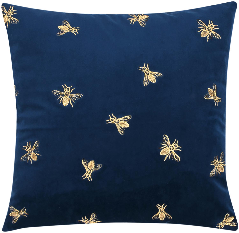 Geborduurde fluwelen kussenhoes Nora in blauw en goudkleur, 100% polyester fluweel, Marineblauw, 45 x 45 cm