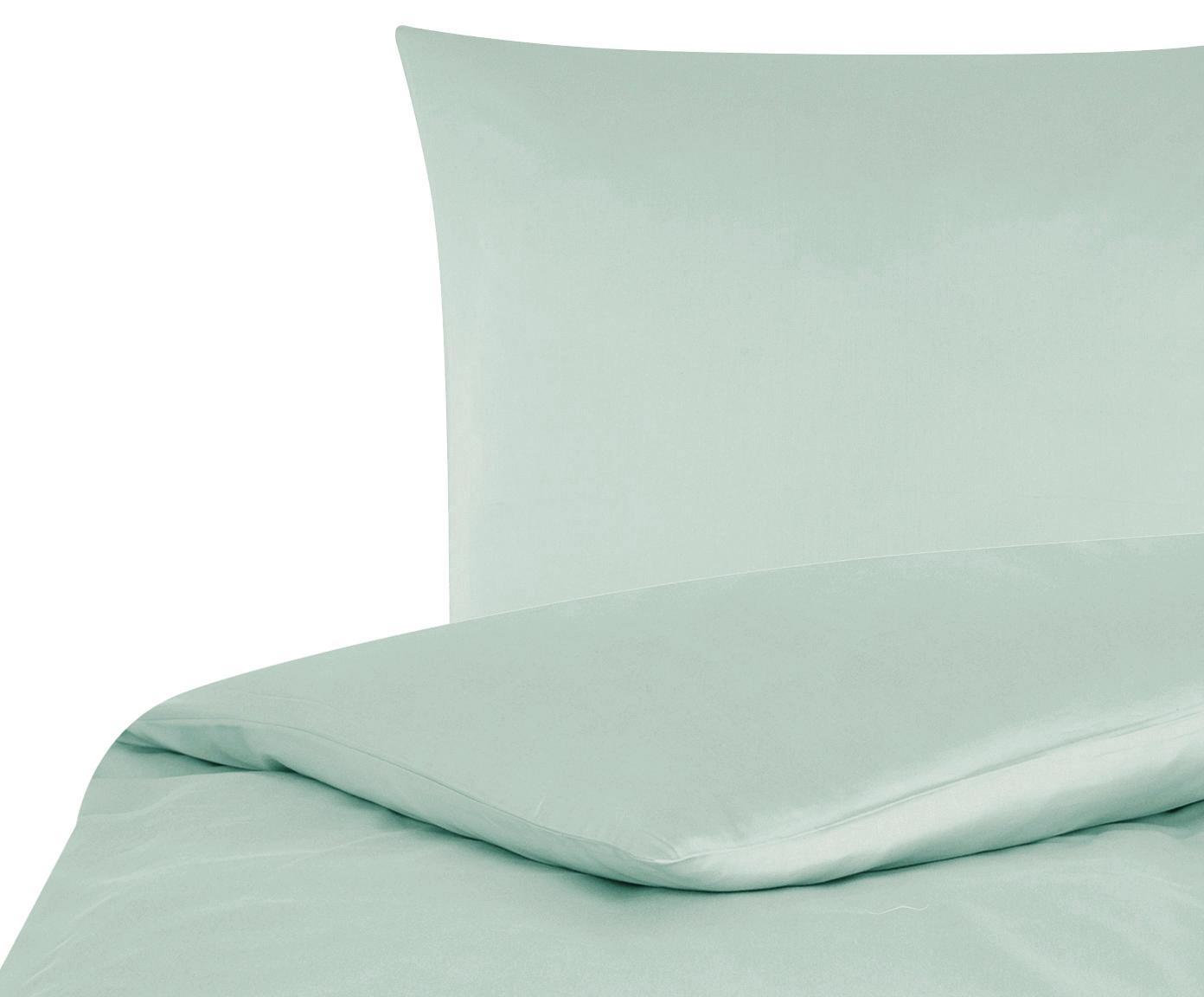 Katoensatijnen dekbedovertrek Comfort, Weeftechniek: satijn, licht glanzend, Saliegroen, 140 x 200 cm