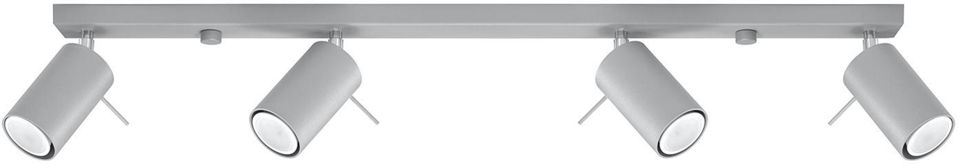 Deckenstrahler Etna in Grau, Stahl, Grau, 80 x 15 cm