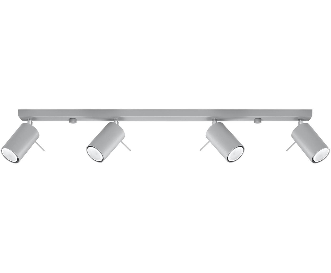 Faretti da soffitto Etna, Acciaio, Grigio, Larg. 80 x Alt. 15 cm