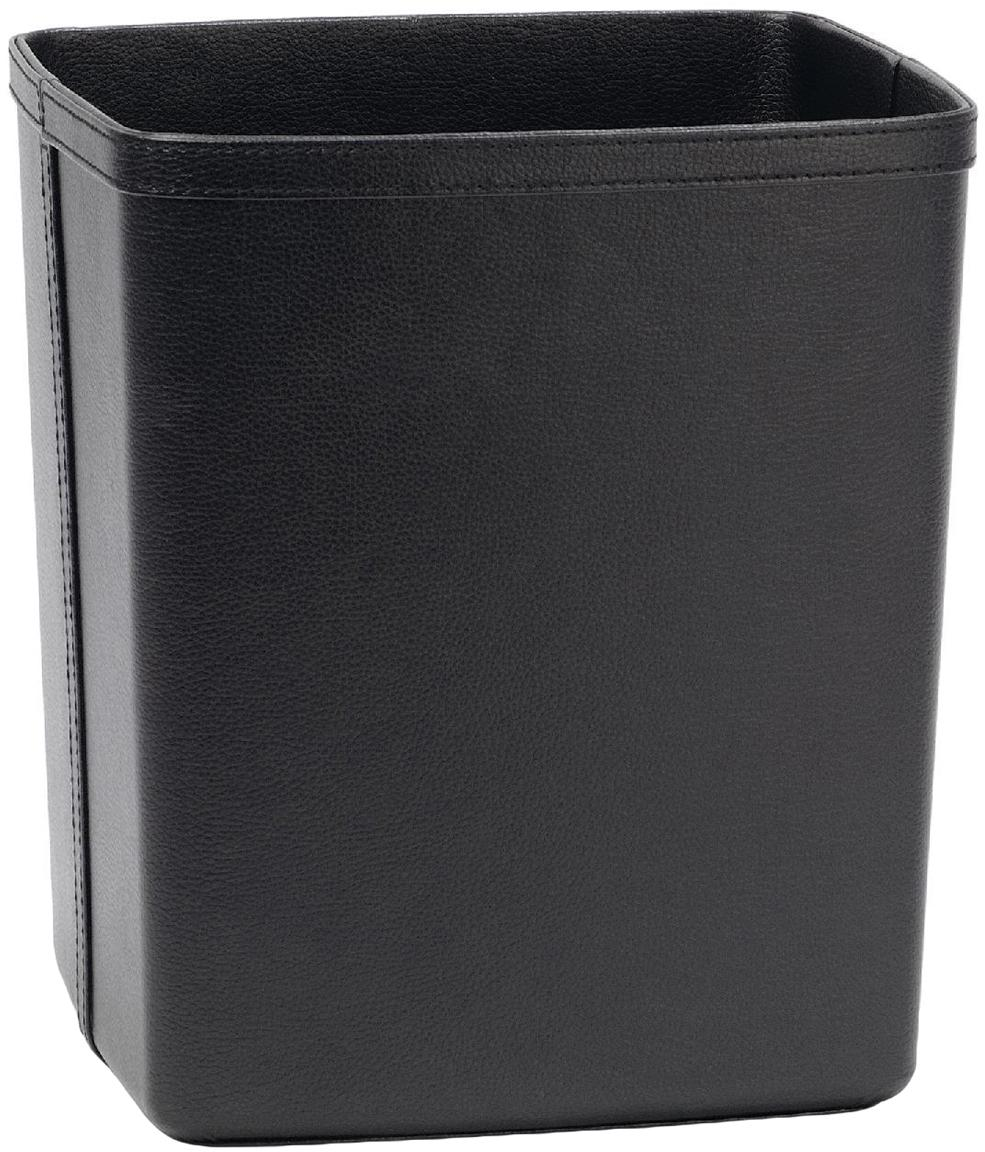 Papelera de cuero sintético Lola, Tapizado: cuero sintético, Estructura: tablero de fibras de dens, Negro, An 25 x Al 29 cm