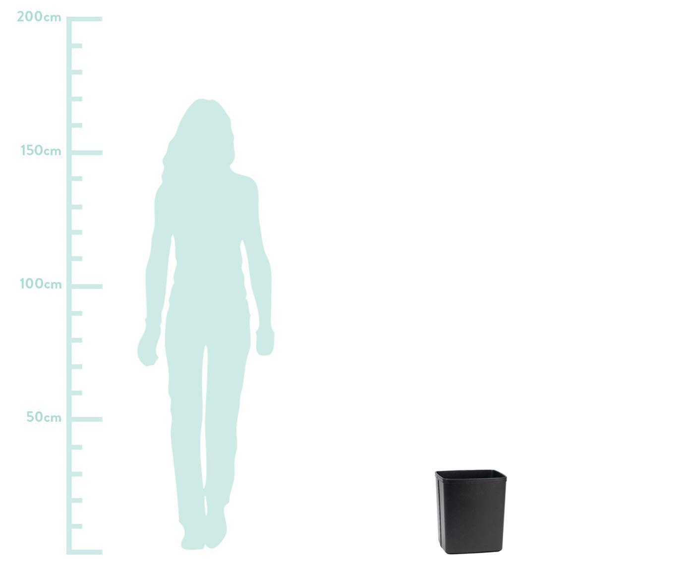 Kunstleder-Papierkorb Lola, Bezug: Kunstleder, Gestell: Mitteldichte Holzfaserpla, Schwarz, 25 x 29 cm