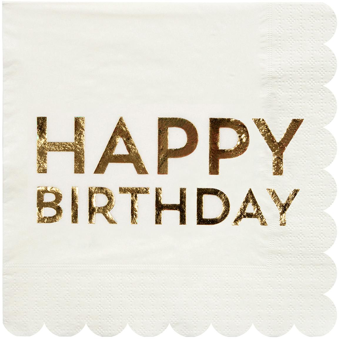 Papieren servetten Birthday, 16 stuks, Papier, Wit, goudkleurig, 33 x 33 cm