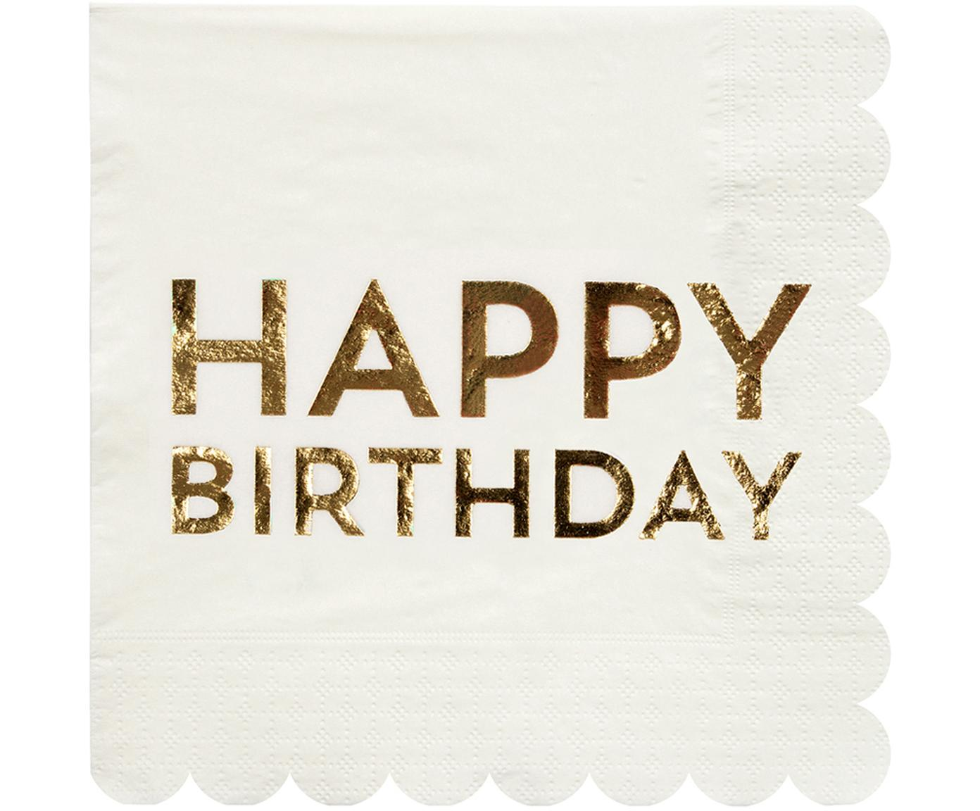Servilletas de papel Birthday, 16 uds., Papel, Blanco, dorado, An 33 x L 33 cm