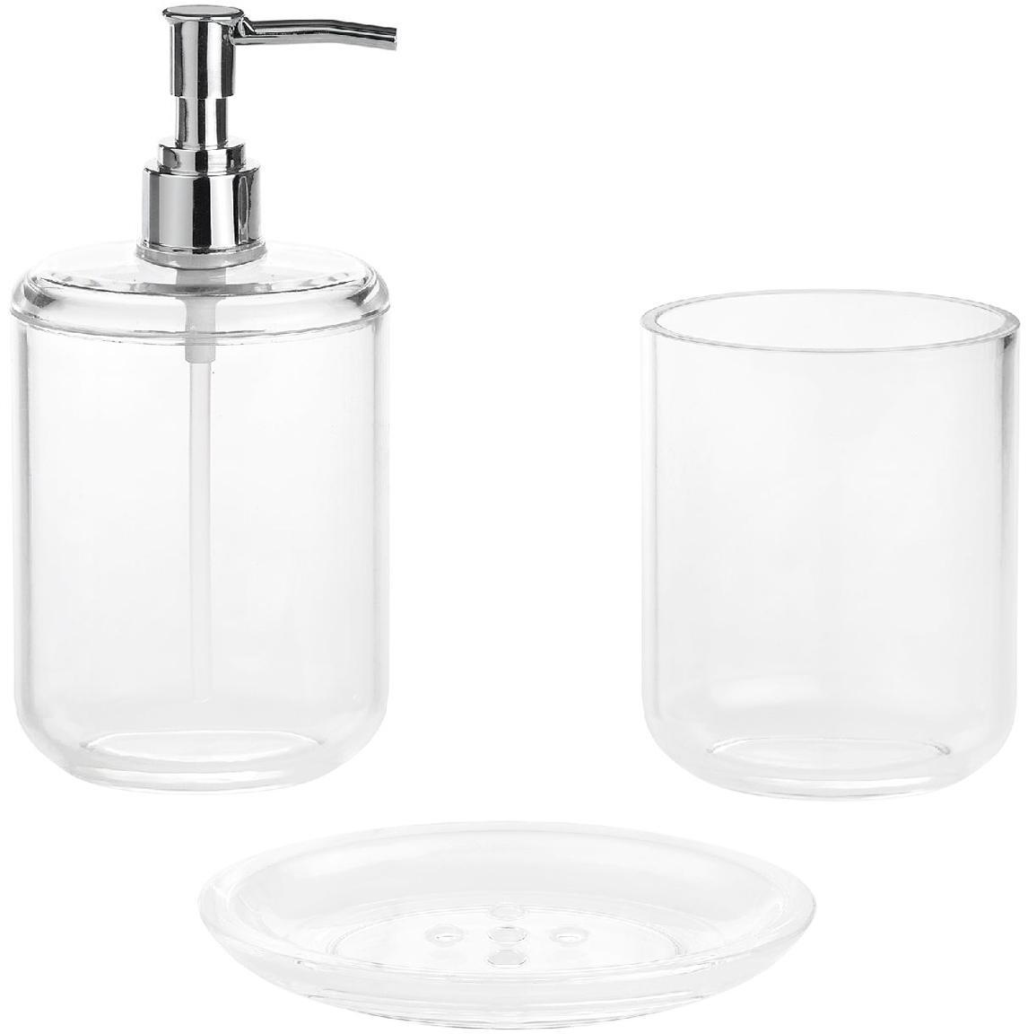 Seifenspender Delan aus Acrylglas, Behälter: Acrylglas, Pumpkopf: Kunststoff, Transparent, Chrom, Ø 7 x H 19 cm