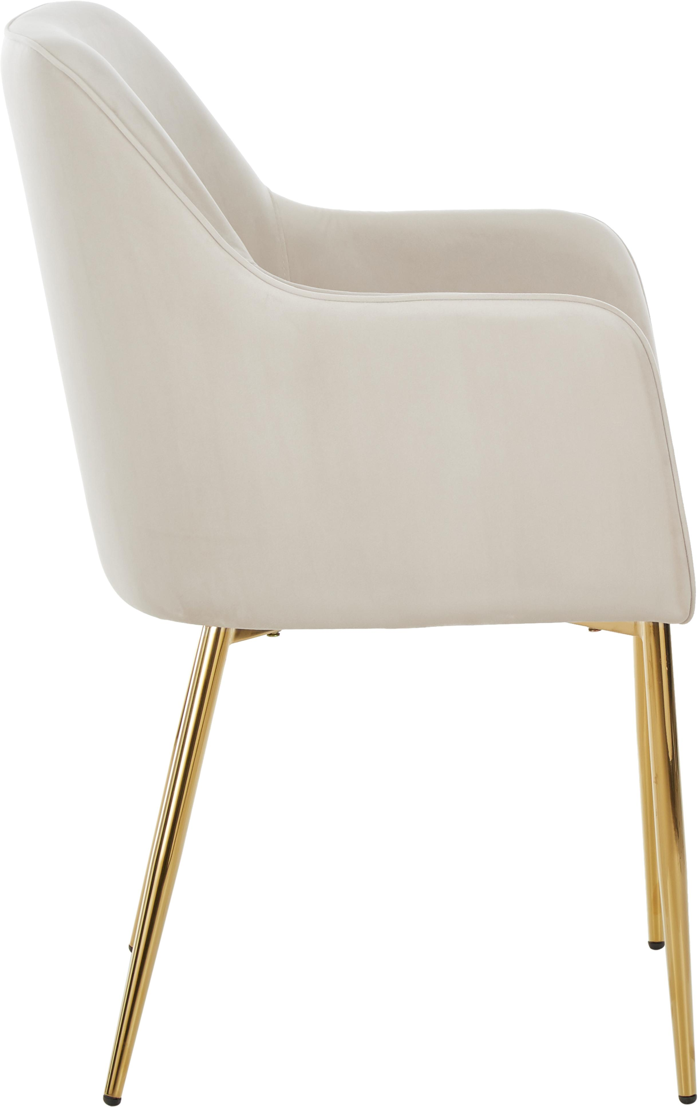 Chaise velours moderne Ava, Velours beige, pieds or