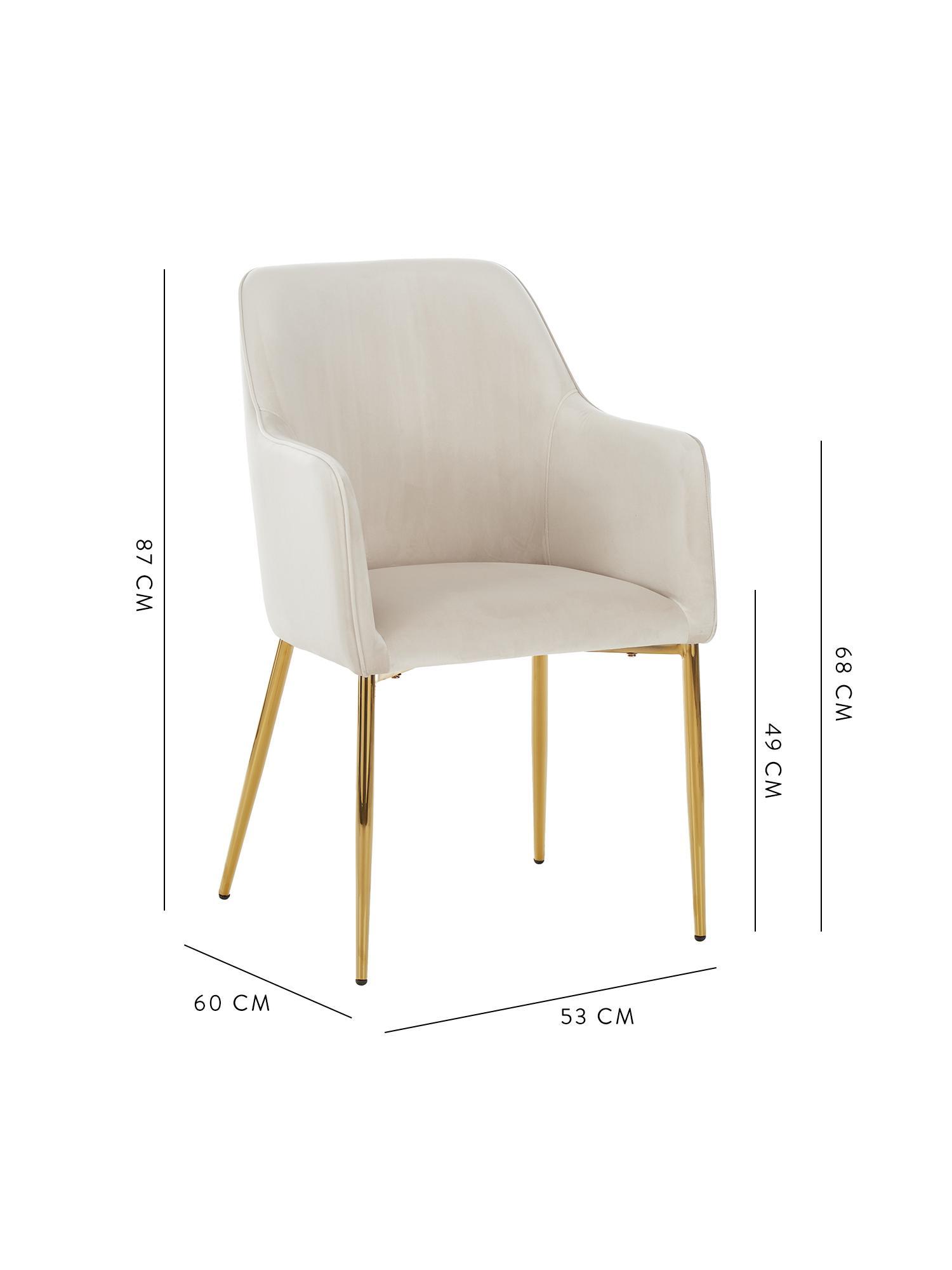 Samt-Armlehnstuhl Ava mit goldfarbenen Beinen, Bezug: Samt (100% Polyester) Der, Beine: Metall, Samt Beige, Beine Gold, B 57 x T 63 cm