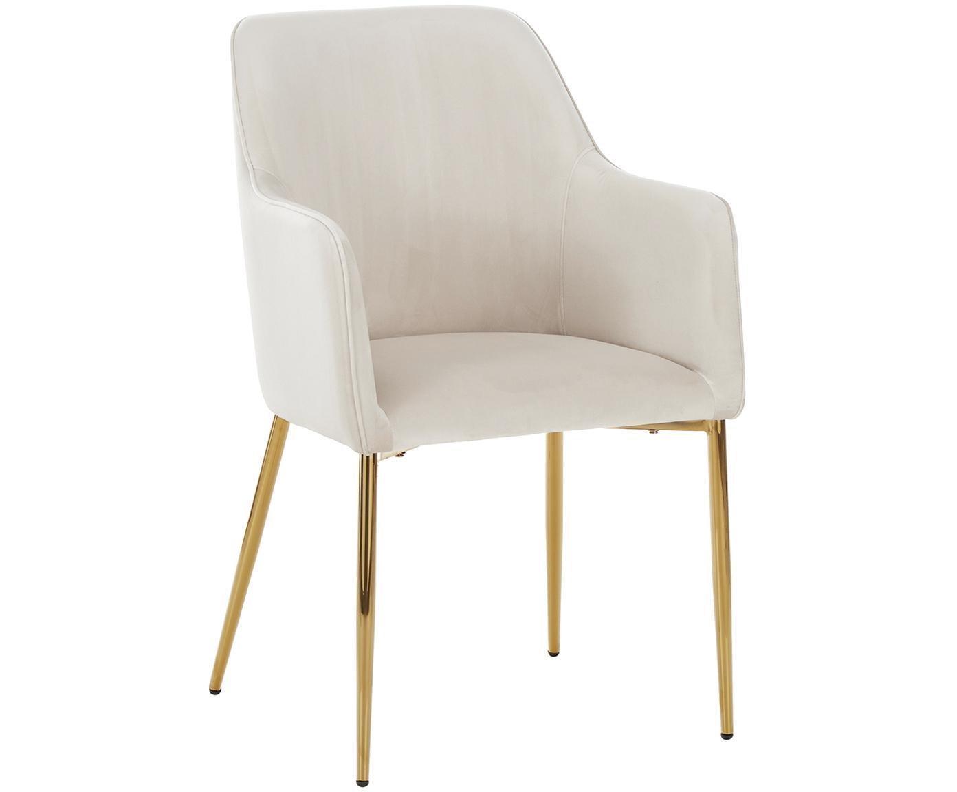 Sedia con braccioli in velluto con gambe dorate Ava, Rivestimento: velluto (100% poliestere), Gambe: metallo zincato, Velluto beige, gambe oro, Larg. 57 x Prof. 63 cm