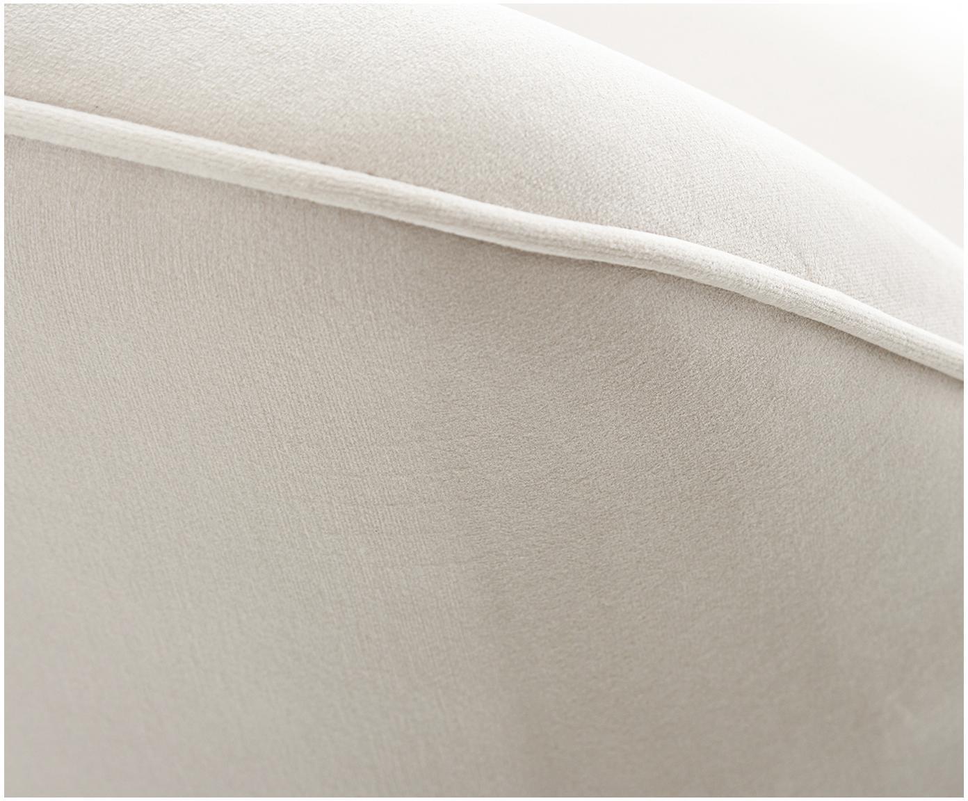 Fluwelen armleunstoel Ava, Bekleding: fluweel (100% polyester), Poten: metaal, Beige, B 57 x D 63 cm