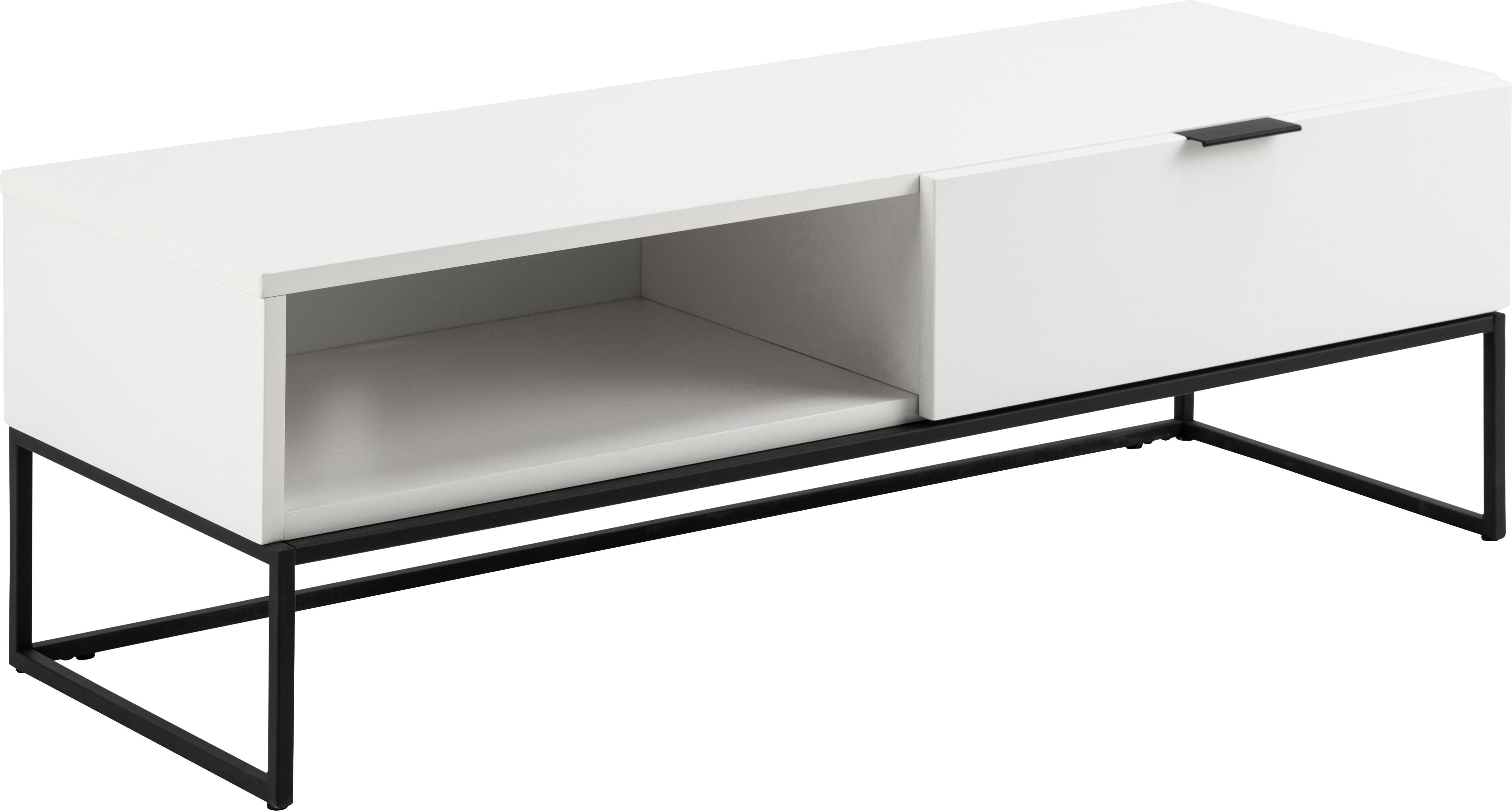 Witte tv-meubel Kobe met laden, Frame: gelakt MDF, Wit, zwart, B 120 x D 42 cm