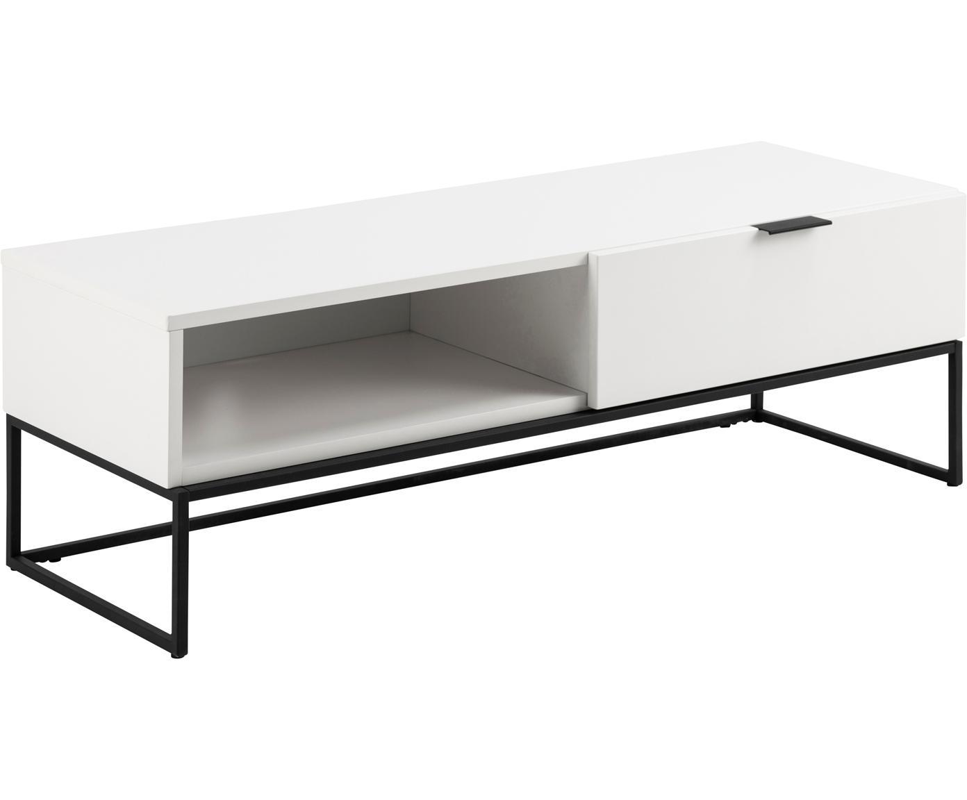 Mueble TV Kobe, Estructura: tablero de fibras de dens, Blanco, negro, An 120 x Al 40 cm