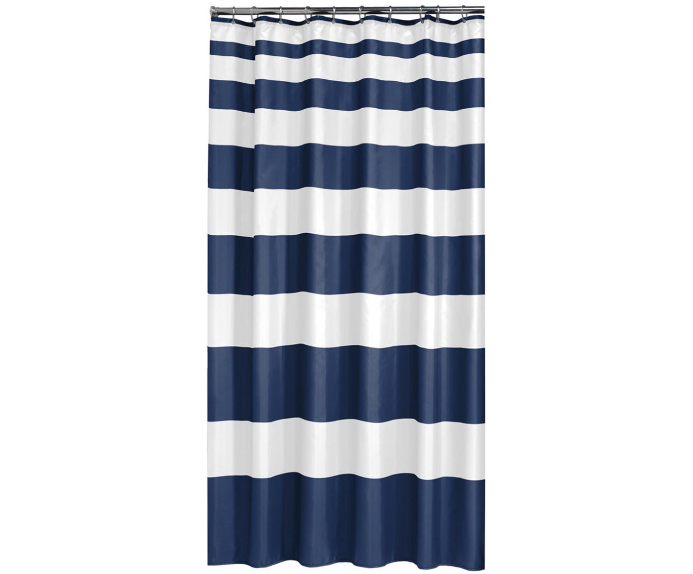 Duschvorhang Nautica mit Blockstreifen, 100% Polyester Wasserabweisend, nicht wasserdicht, Blau, Weiß, 180 x 200 cm