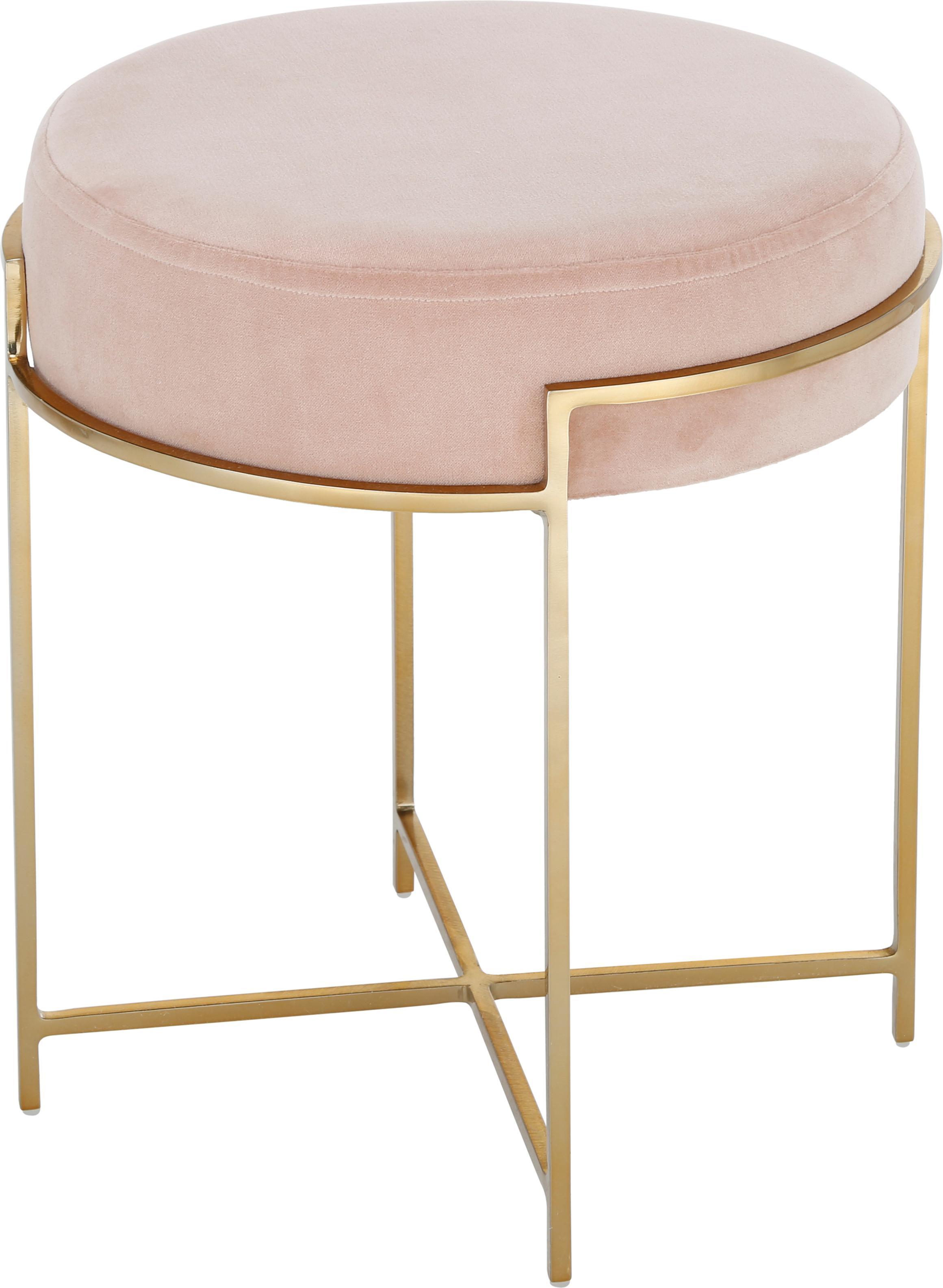 Samt-Hocker Madeleine mit Metallgestell, Bezug: Baumwollsamt, Bezug: RosaFuss: Goldfarben, matt, Ø 40 x H 45 cm