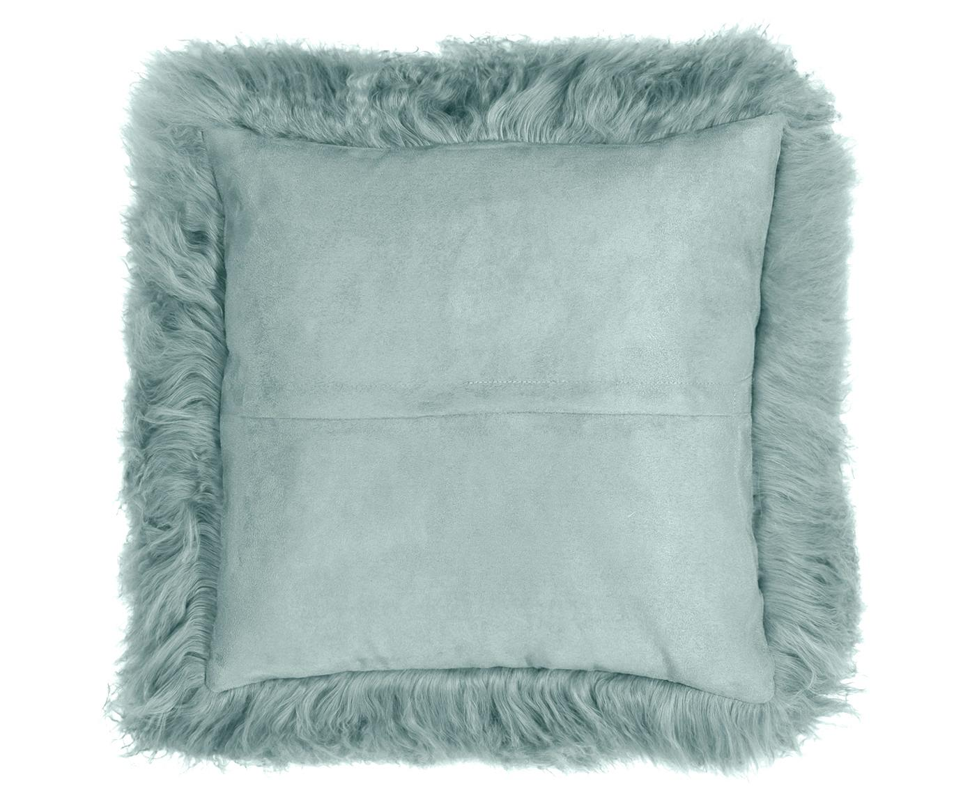 Poszewka na poduszkę ze skóry jagnięcej o długim włosiu Ella, Ciemnyturkusowy, S 40 x D 40 cm