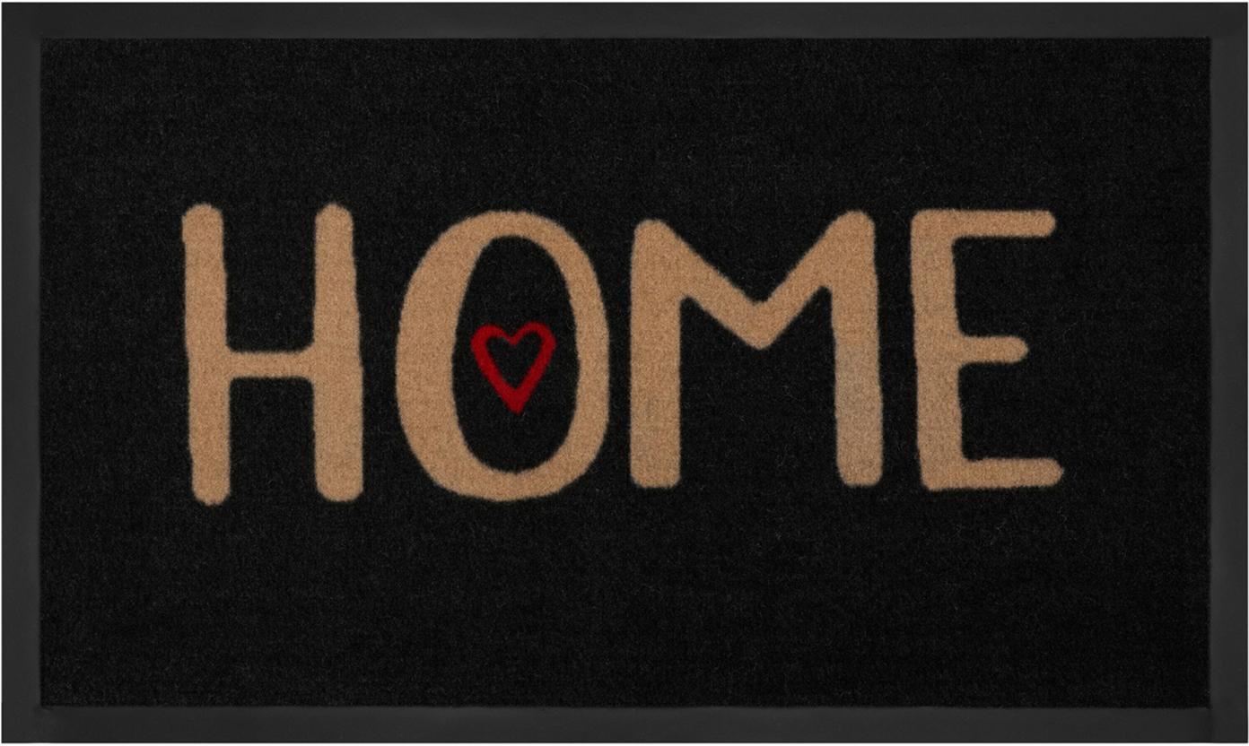 Polyamid-Fussmatte Lovely Home, Vorderseite: Polyamid, Rückseite: Gummi, Schwarz, Beige, Rot, 45 x 75 cm