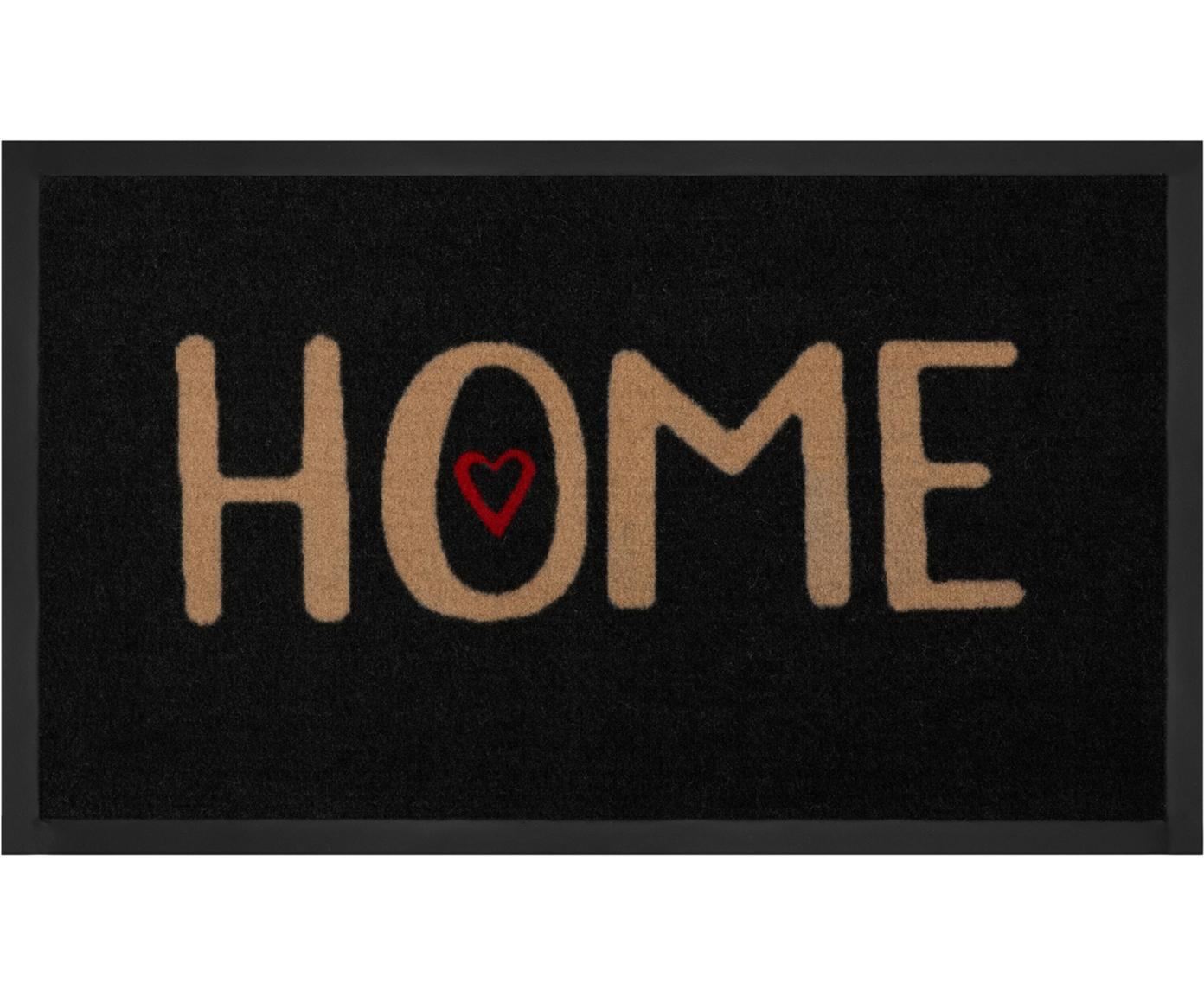 Polyamide deurmat Lovely Home, Bovenzijde: polyamide, Onderzijde: rubber, Zwart, beige, rood, 45 x 75 cm