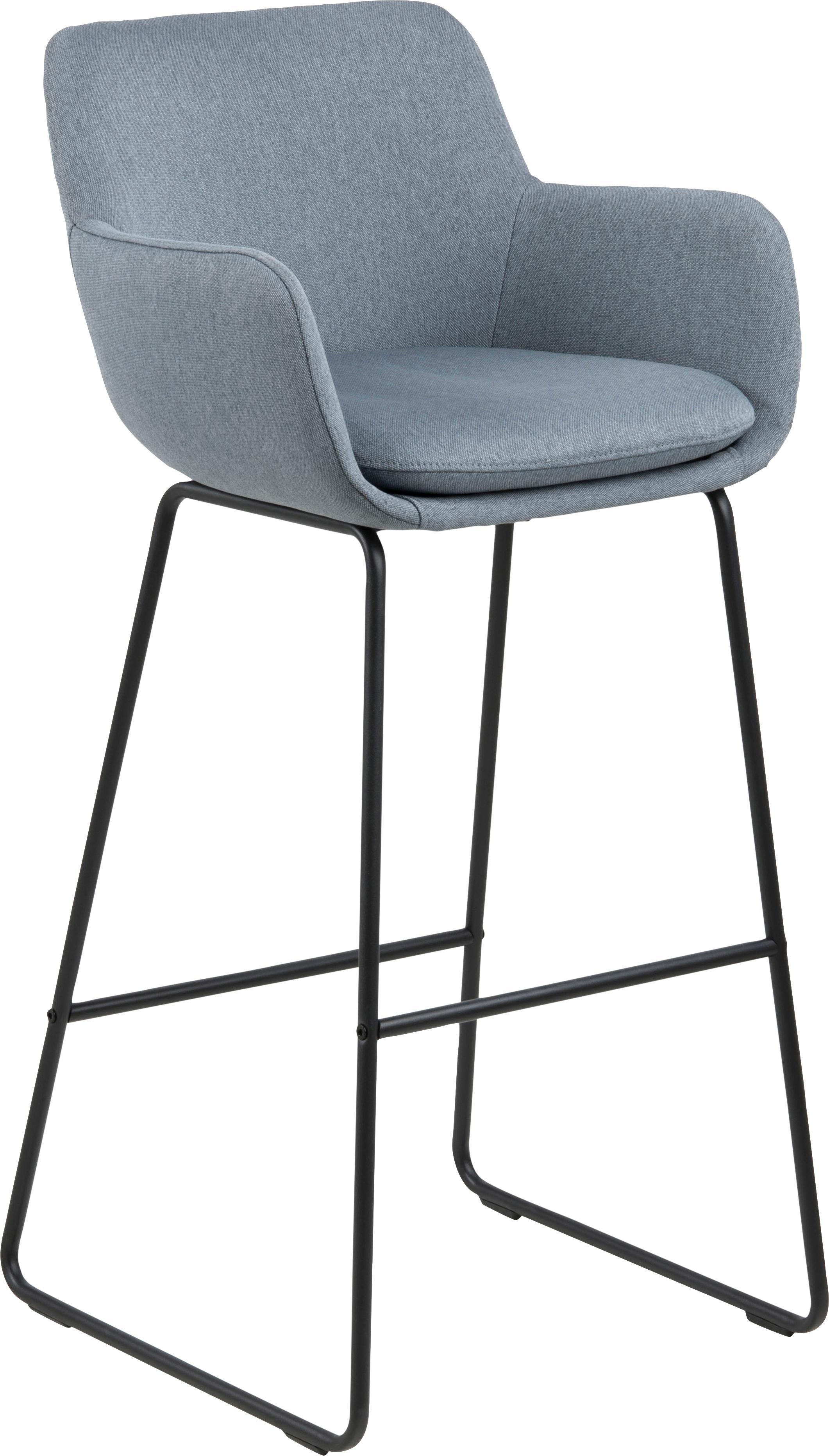 Sedia da bar Lisa 2 pz, Rivestimento: poliestere, Struttura: metallo verniciato a polv, Grigio blu, Larg. 51 x Alt. 103 cm