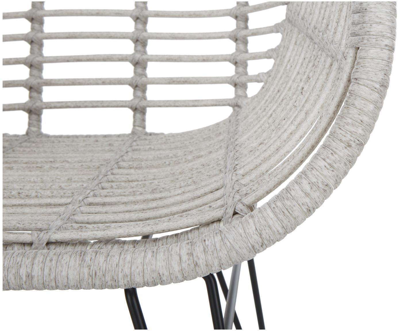 Polyrotan armstoelen Costa, 2 stuks, Zitvlak: polyethyleen-vlechtwerk, Frame: gepoedercoat metaal, Lichtgrijs, B 59 x D 61 cm