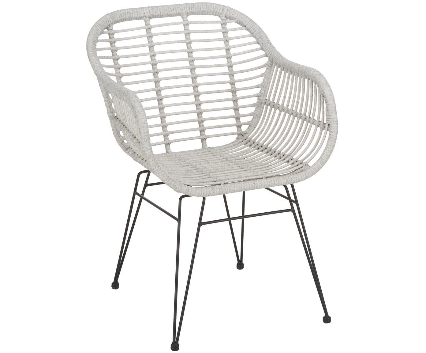Sedia con braccioli Costa 2 pz, Seduta: treccia di polietilene, Struttura: metallo verniciato a polv, Seduta: grigio chiaro, macchiato Struttura: nero opaco, Larg. 59 x Prof. 61 cm