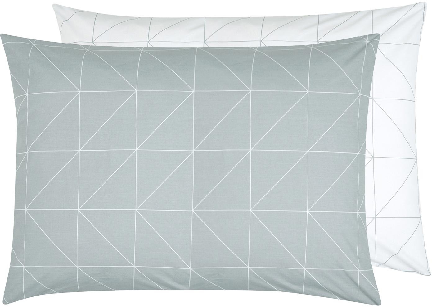 Funda de almohada de tejido renforcé Marla, caras distintas, Verde salvia, blanco crema, An 50 x L 70 cm