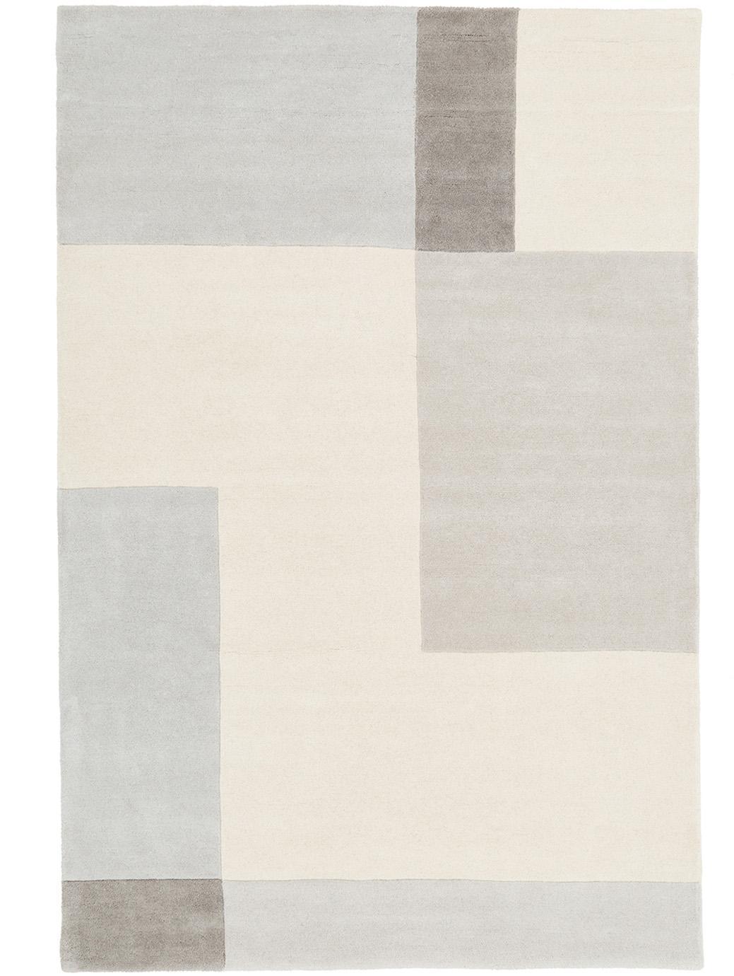Tappeto in lana taftato a mano Keith, Vello: lana, Retro: cotone, Beige, grigio, Larg. 120 x Lung. 180 cm (taglia S)
