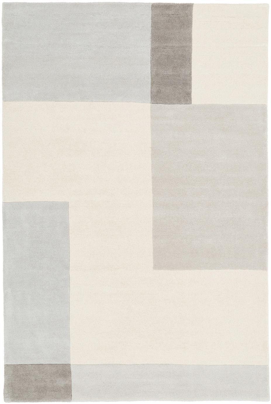 Handgetuft wollen vloerkleed Keith, Bovenzijde: 100% wol, Onderzijde: katoen, Beige, grijs, B 120 x L 180 cm (maat S)