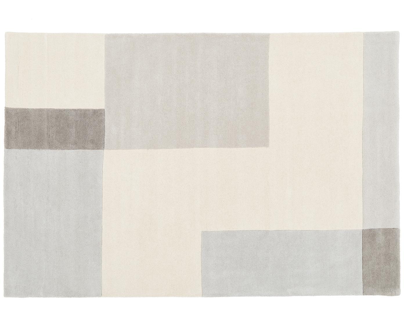 Handgetuft wollen vloerkleed Keith, Bovenzijde: wol, Onderzijde: katoen, Beige, grijs, B 120 x L 180 cm (maat S)
