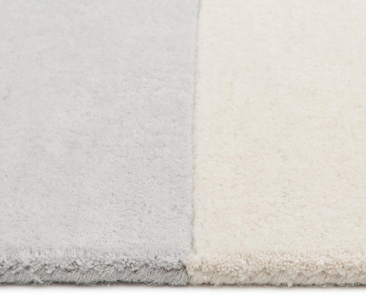Handgetufteter Wollteppich Keith mit geometrischem Muster, Flor: 100% Wolle, Beige, Grau, B 200 x L 300 cm (Größe L)