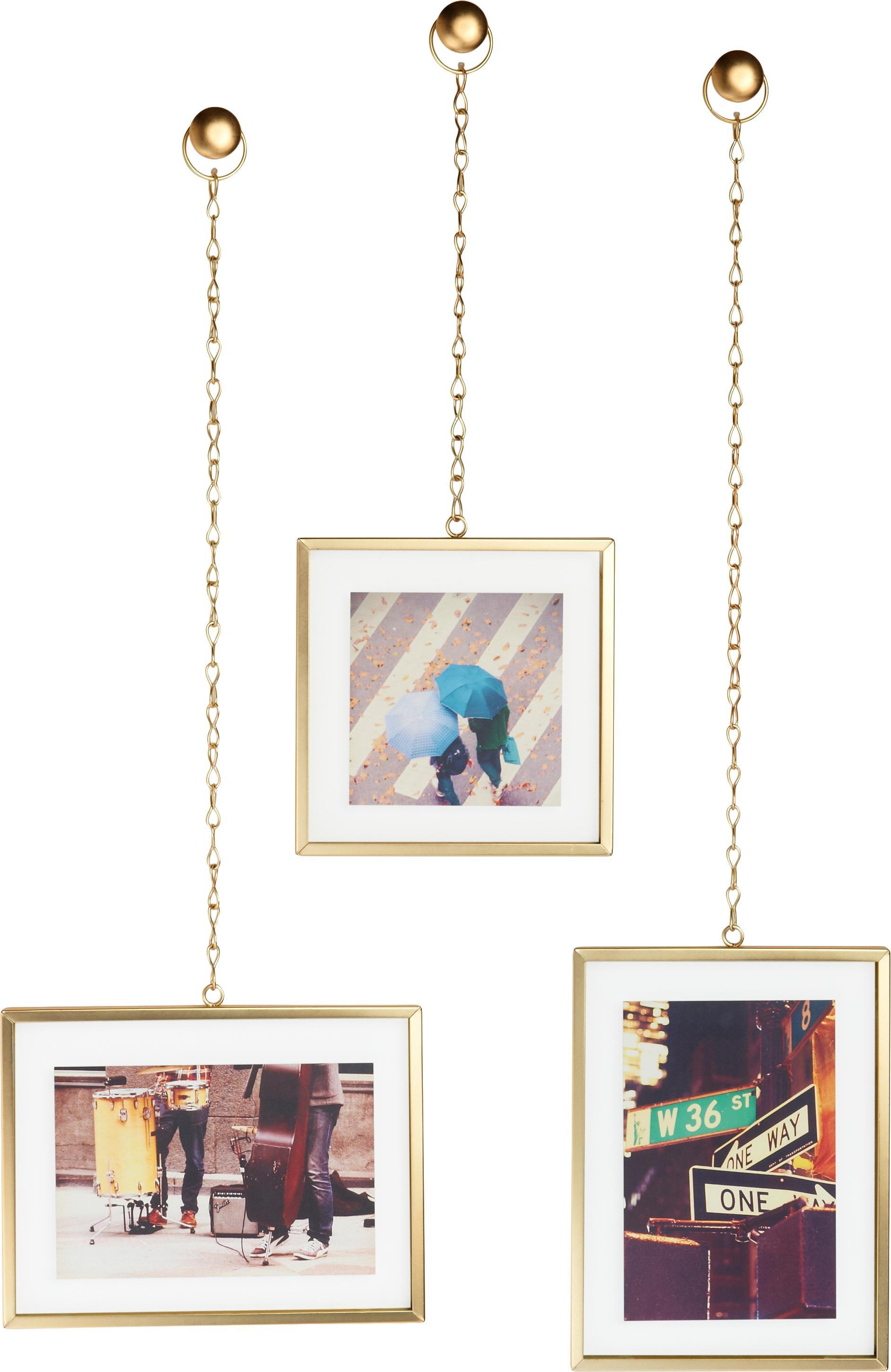 Set 3 portafoto da parete Strass, Ottone, opaco, Set in varie misure