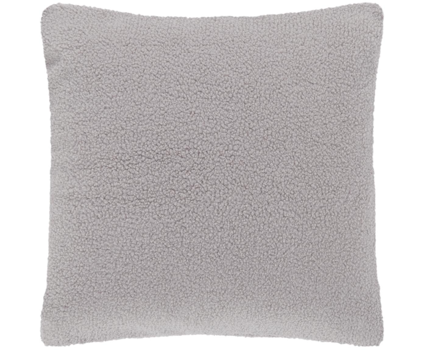 Flauschige Teddy-Kissenhülle Mille, Vorderseite: 100% Polyester (Teddyfell, Rückseite: 100% Polyester (Teddyfell, Hellgrau, 60 x 60 cm
