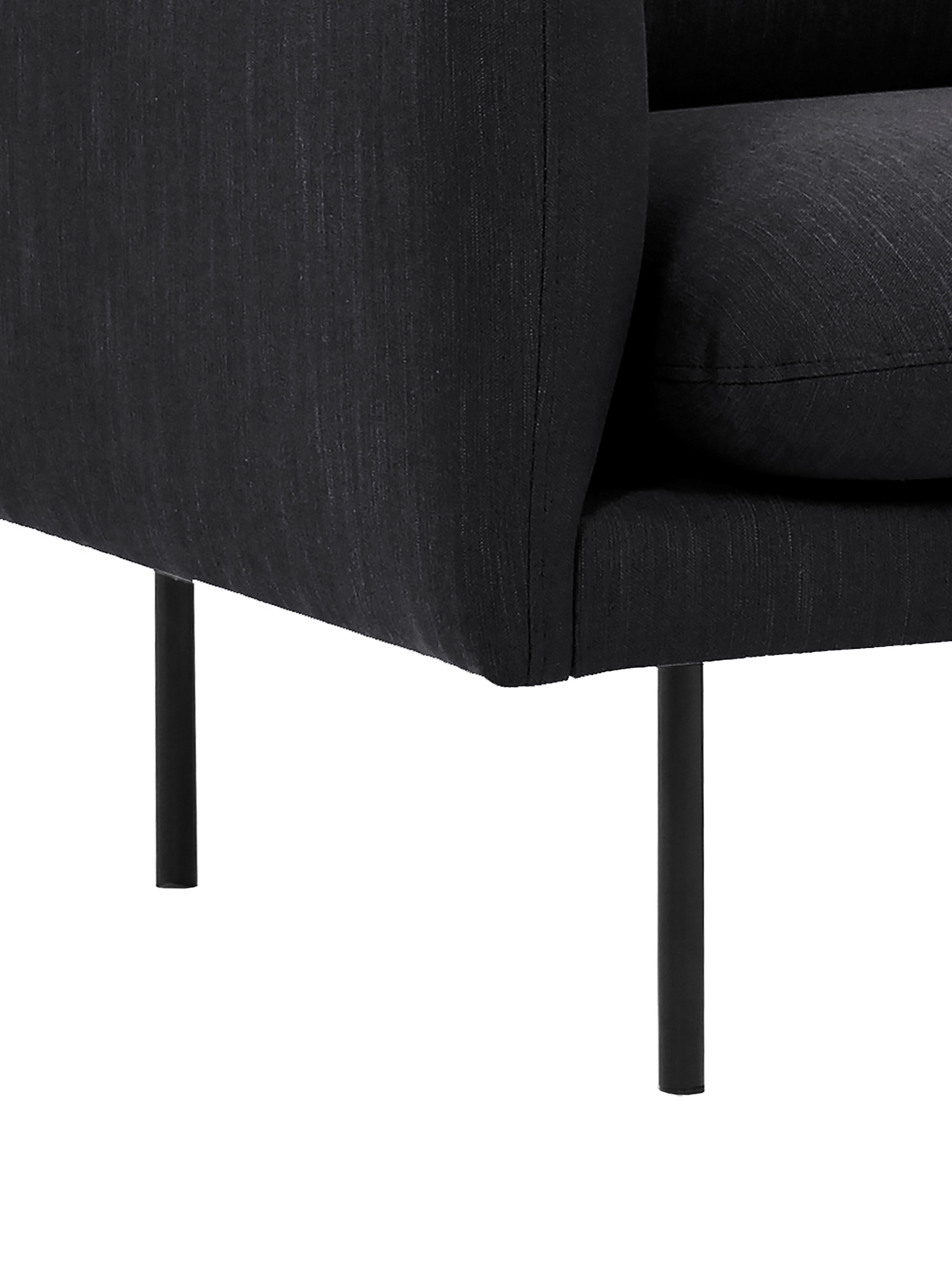 Hoekbank Moby, Bekleding: polyester, Frame: massief grenenhout, Poten: gepoedercoat metaal, Donkergrijs, B 280 x D 160 cm