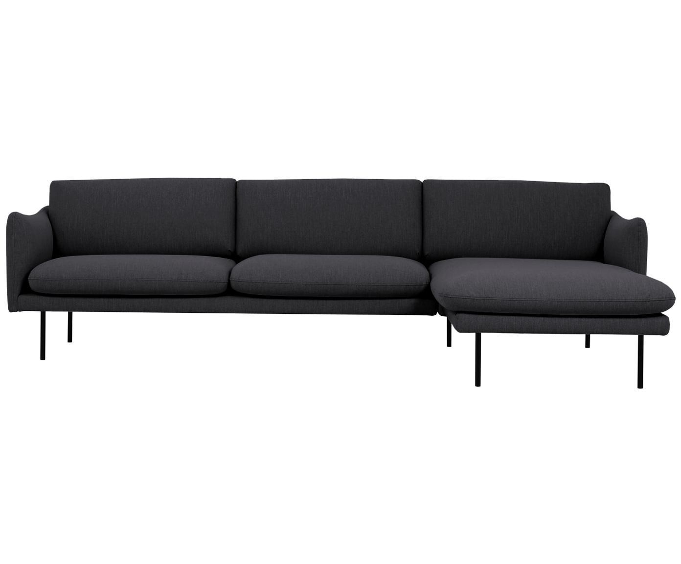 Ecksofa Moby, Bezug: Polyester 60.000 Scheuert, Gestell: Massives Kiefernholz, Webstoff Dunkelgrau, B 280 x T 160 cm