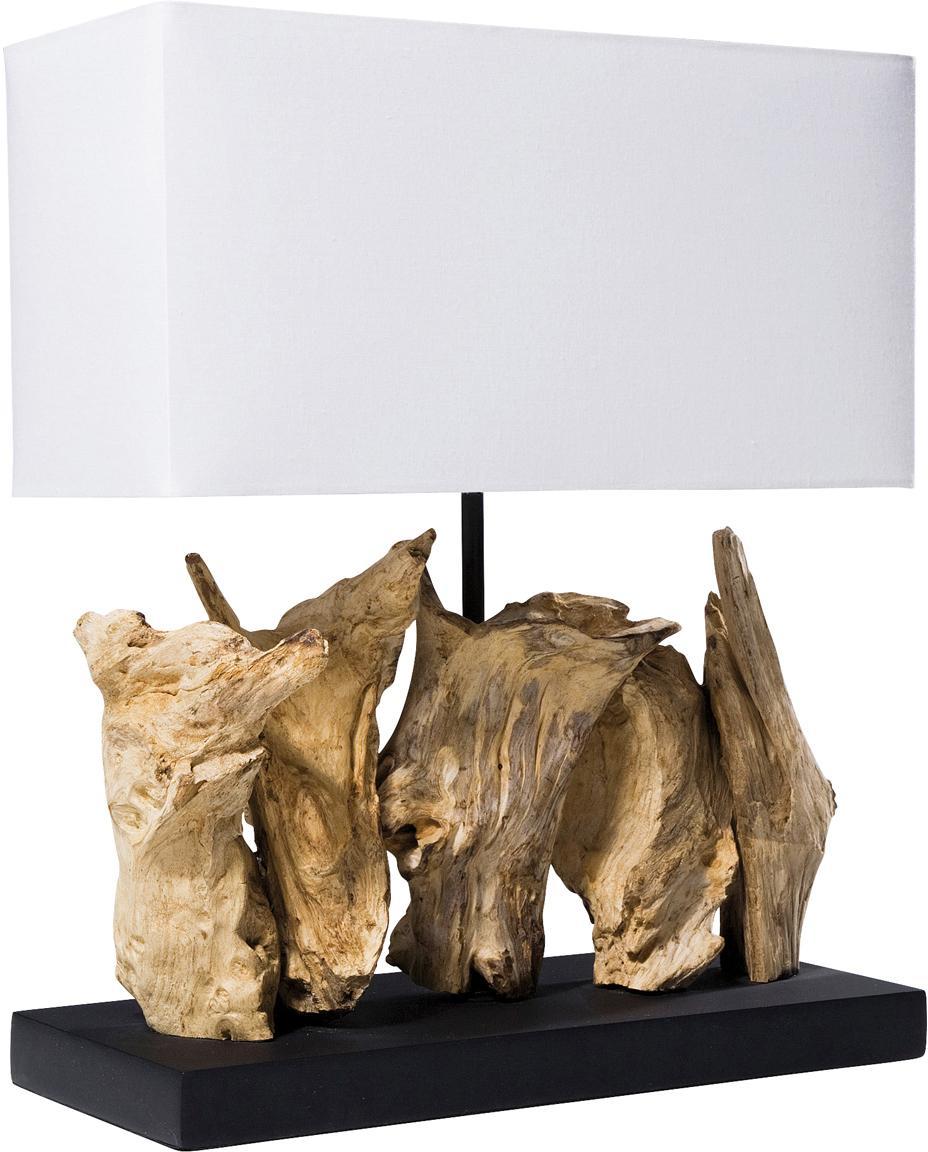 Design-Tischlampe Nature aus Treibholz, Lampenschirm: Baumwolle, Lampenfuß: Treibholz, Sockel: Spanplatte, gebeizt und l, Weiß, Braun, 35 x 43 cm