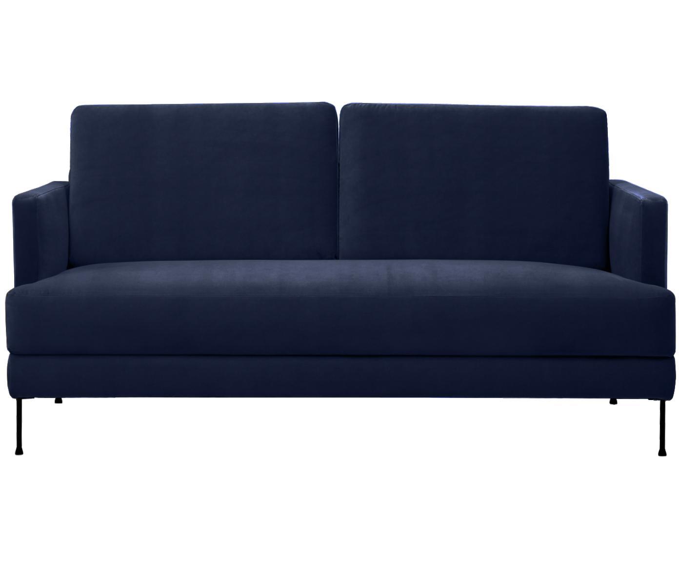Fluwelen bank Fluente (2-zits), Bekleding: fluweel (hoogwaardig poly, Frame: massief grenenhout, Poten: gelakt metaal, Donkerblauw, B 168 x D 83 cm