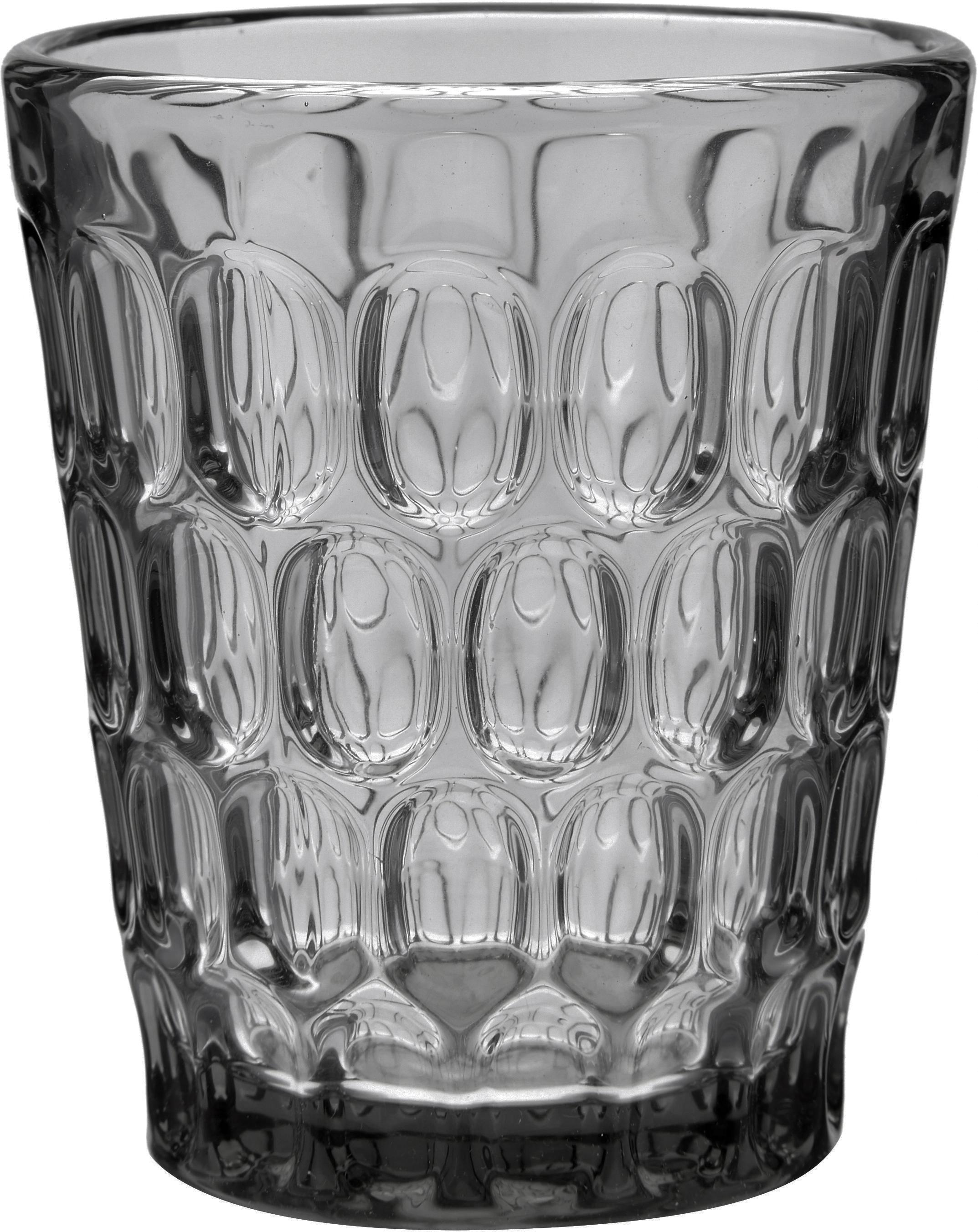 Vasos resistentes con relieve Optic, 6uds., Vidrio, Gris, transparente, Ø 9 x Al 11 cm