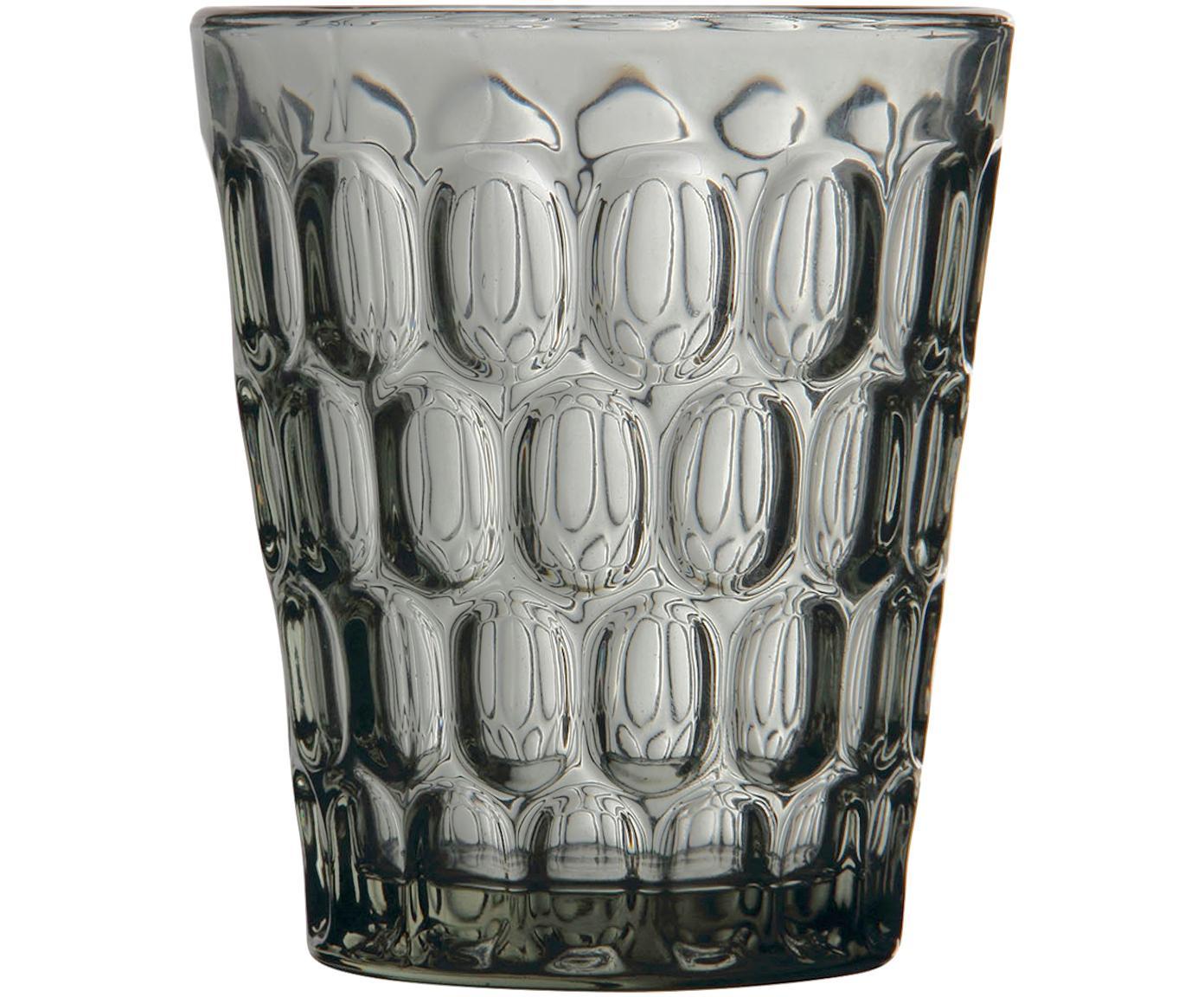 Bicchiere acqua con rilievo Optic 6 pz, Vetro, Trasparente, grigio, Ø 9 x Alt. 11 cm