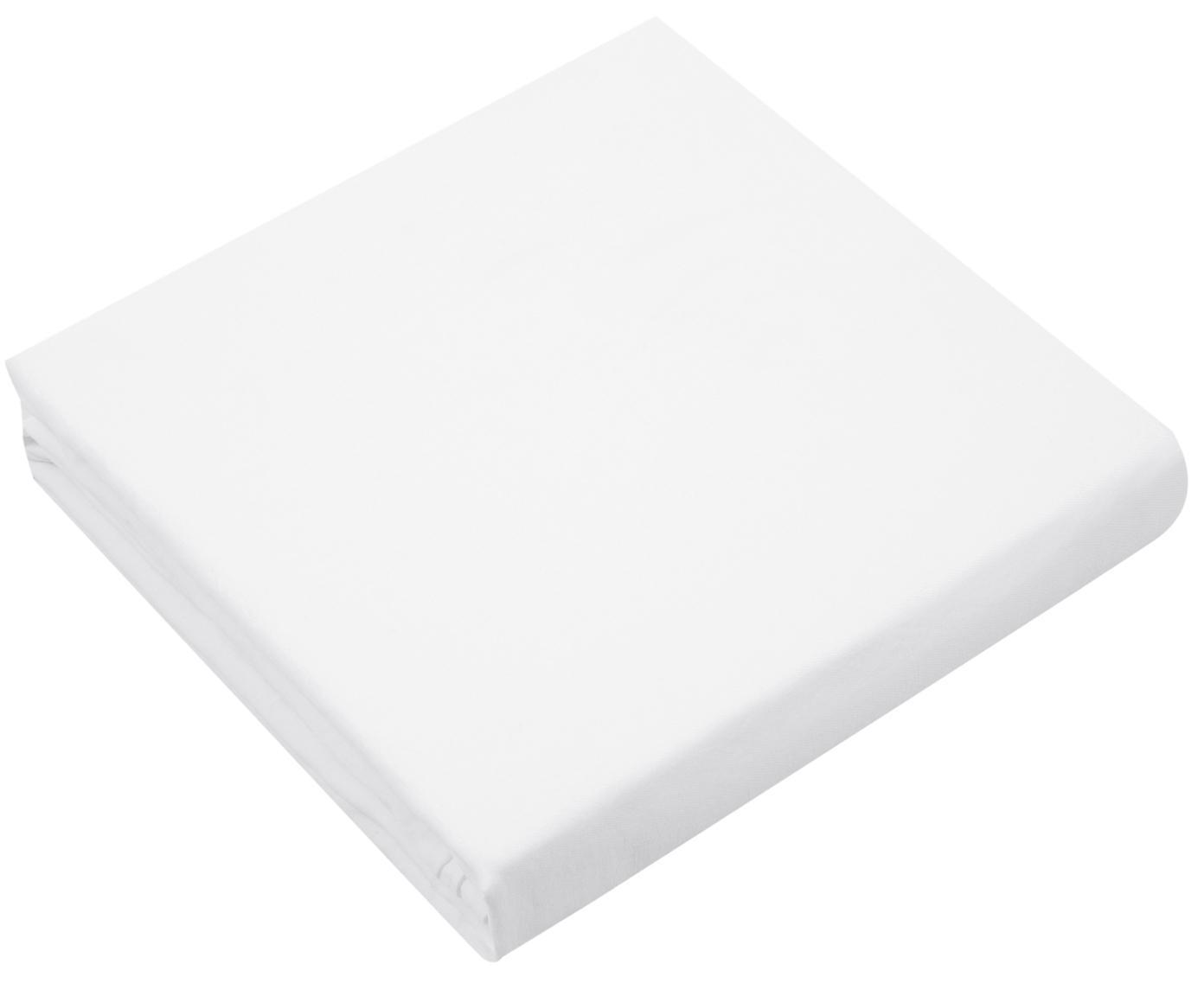 Prześcieradło z gumką z lnu Carla, 52% len, 48% bawełna Z efektem sprania, Biały, S 90 x D 200 cm