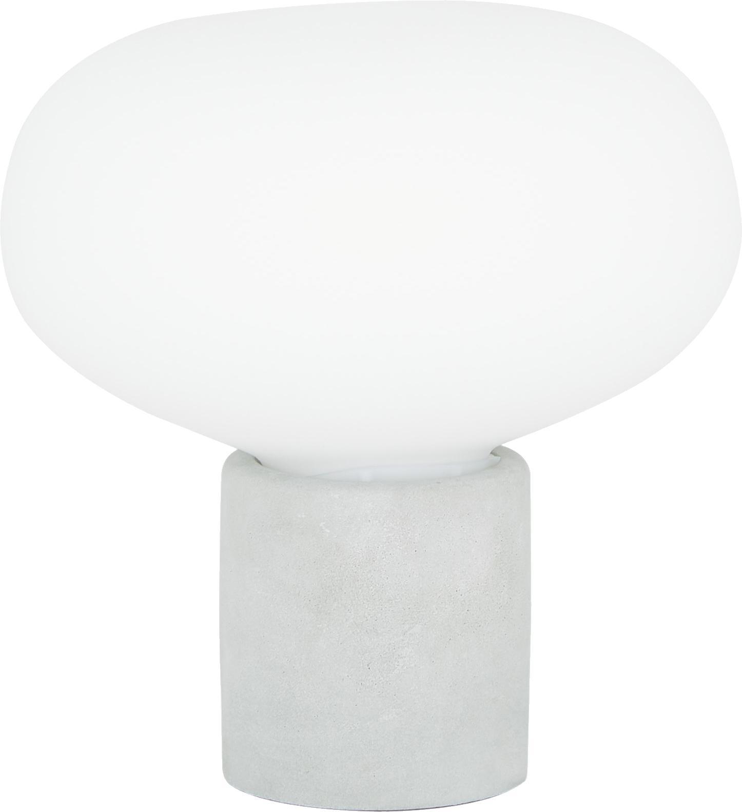Lampada da tavolo in cemento Alma, Base della lampada: cemento, Paralume: vetro, Base della lampada: cemento grigiastro Paralume: bianco, Ø 23 x Alt. 24 cm
