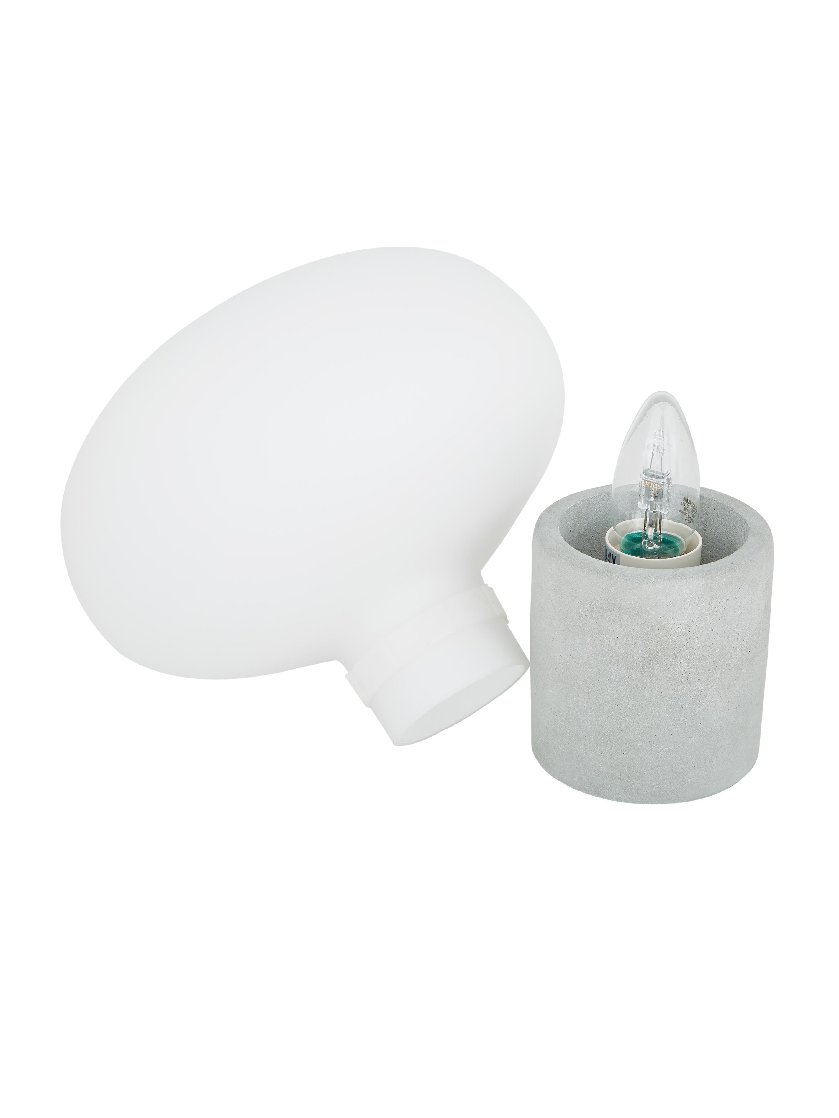 Tischlampe Alma mit Betonfuß, Lampenfuß: Beton, Lampenschirm: Glas, Lampenfuß: Grauer BetonLampenschirm: Weiß, Ø 23 x H 24 cm